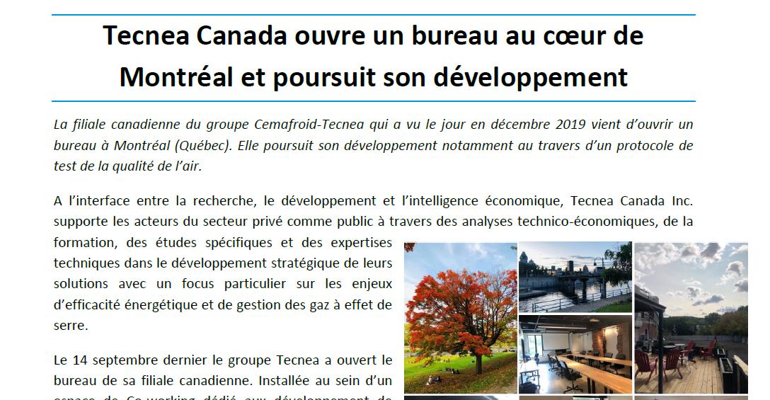 Tecnea Canada ouvre un bureau a Montreal